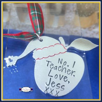 Personalised Teacher Christmas Tree Decoration - Christmas Gift For Teachers - Number 1 Teacher - Gifts For Teaching Assistant - Apple Gift