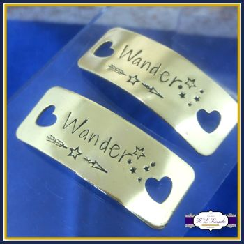 Personalised Gold Trainer Tags - YOUR OWN WORDING - Wander - Wanderlust - Trainer Tags with Stars - Runner Shoe Charm - Marathon Gifts - Jogger Gift
