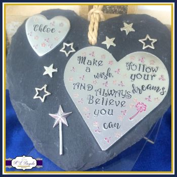 Personalised Children's Plaque - Make A Wish Gifts For Children - Follow Your Dreams - Always Believe You Can Gift - Personalised Slate Gift