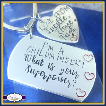 Personalised Childminder Gift - Childminder Keyring - Gift For Childminder - What's Your Superpower Keyring - Teacher Keyring - End Of Year
