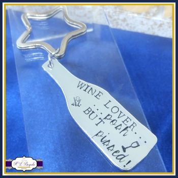 Wine Posh But Pissed Keyring - Wine Lover Keyring - Wine Lover Gift - Wine Gift - Champagne Keyring - Wine Gift - Gift For Wine Drinker