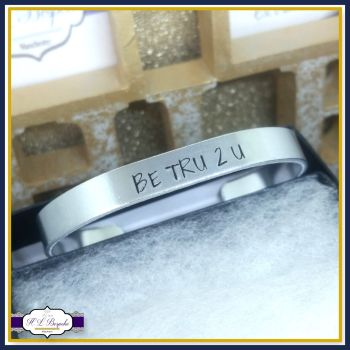 Personalised Aluminium Cuff Bracelet - You CHOOSE Wording - Simple Font Cuff - Personalised Cuff - Custom Bangle - Custom Jewellery - Silver