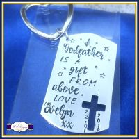 Gifts For Godparents - A Godfather Is A Gift From Above - Personalised Godfather Gift - Godmother Keychain - Godparent Keychain - Gift For Godmother