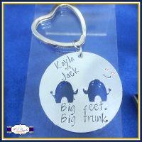 Valentine's Keyring - Valentines Gift - Valentine's Elephant Gift - Big Feet Big Trunk Gift - Elephant Keychain - Couple Gifts - Anniversary