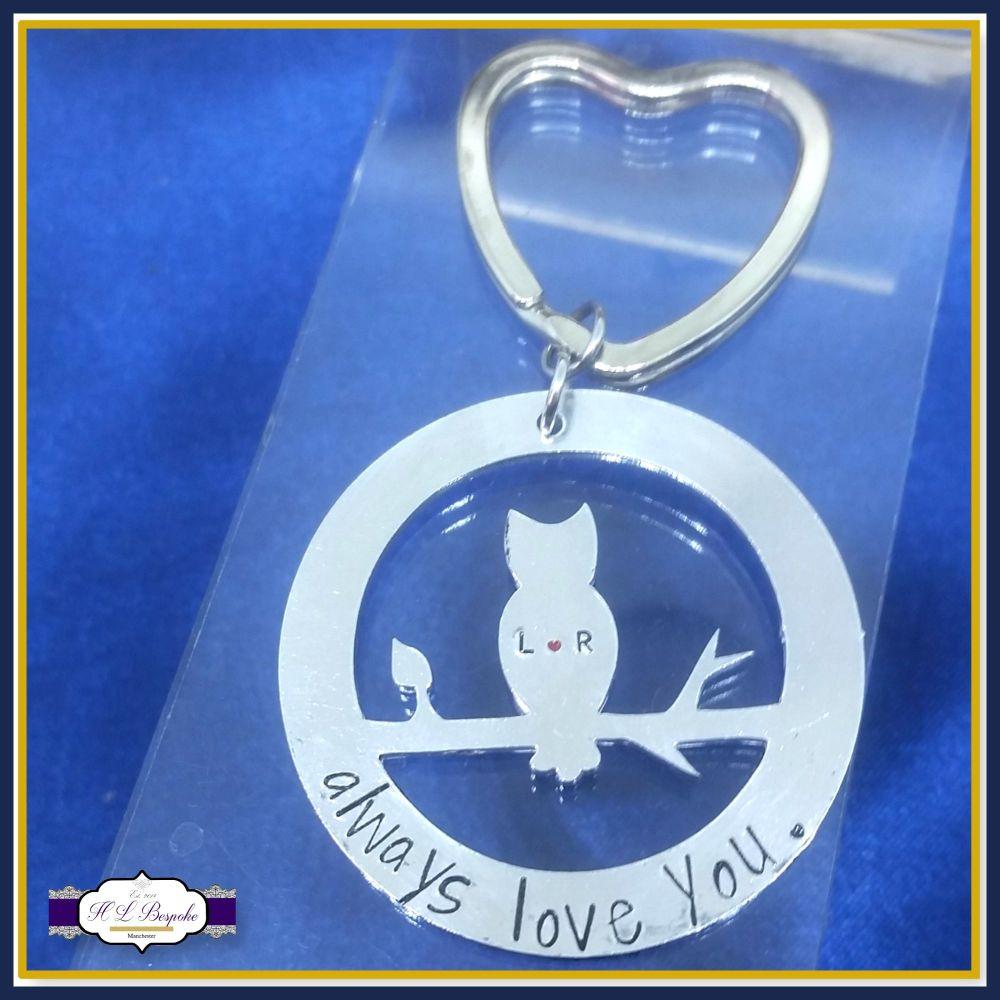 Personalised Owl Valentine's Keyring - Valentine's Keychain - Owl Always Lo