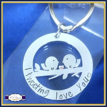 Personalised Love Bird Gift - Valentine's Keyring - Valentine's Keychain - I Tweeting Love You - Couple Gift - Anniversary Gift - Keychain