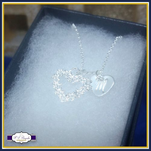 Personalised Flower Girl Necklace - Sterling Silver Flower Heart Pendant -