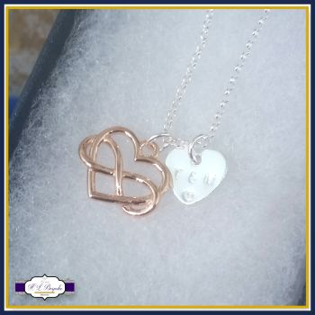 Personalised Valentine's Infinity Heart Necklace - Infinity Necklace - Rose Gold Infinity Jewellery - Rose Gold Jewellery - Valentine's Pend