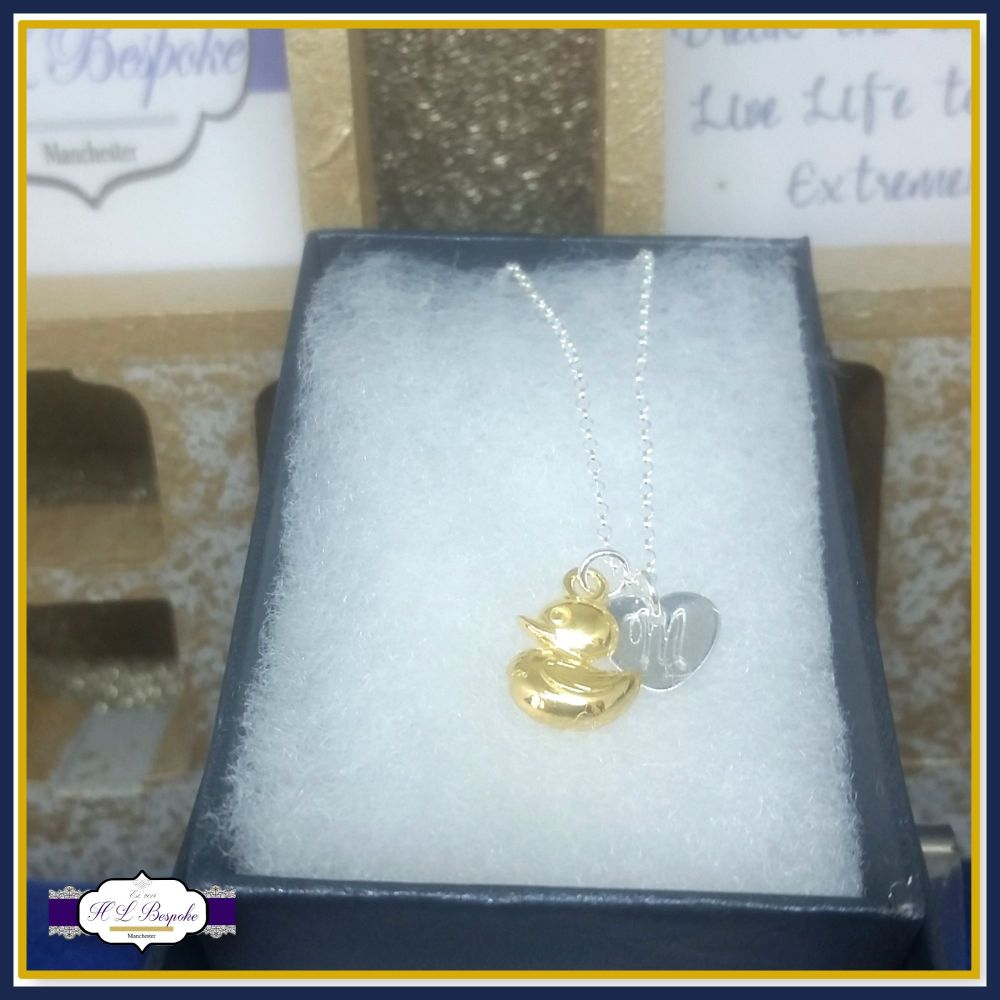 Personalised Duck Necklace - Rubber Duckling Pendant - Gold Duck Jewellery