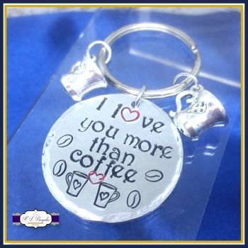 I Love You More Than Coffee Keyring - I Love You More Thank Gift - Coffee Keyring Gift - Gift For Coffee Lover - Cappuccino - Coffee Bean