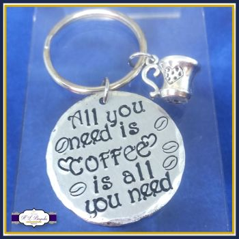 All You Need Is Coffee Keyring - Coffee Is All You Need Gift - Coffee Keyring Gift - Gift For Coffee Lover - Cappuccino - Coffee Bean