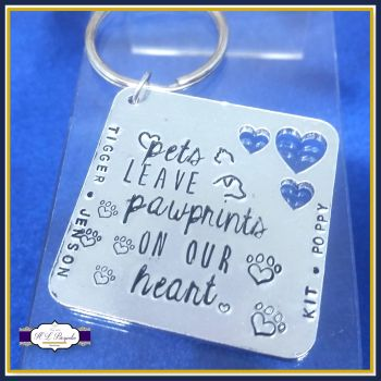 Custom Pets Leave Pawprints On Our Heart Gift - Pets Leave Paw Prints On Our Heart Keyring - Pet Keyring - Pet Love Gift - Gift For Pet Owner