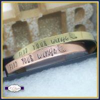 Find Your Wings Jewellery - Find You Wings Gift - Find Your Wings Bangle - Spread You Wings - Personalised Cuff - Copper Cuff - Gold Cuff