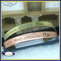With Brave Wings She Flies Jewellery - Brave Wings Gift - Brave Wings Bangle - Hope Gift - Personalised Cuff - Copper Cuff - Gold Cuff