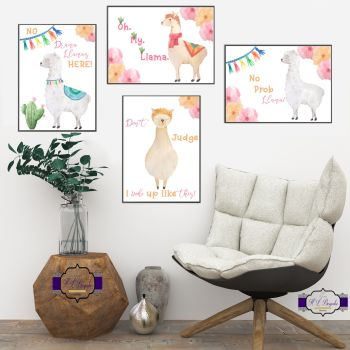 Llama Print Set - Llama Bedroom Decor - Fun Llama Gifts - Llama Quote Gift - Oh My Llama - OMG Gift - I Woke Like This - Printed & Unframed