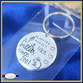 Personalised Adult Humour Valentine's Gift - At It Like Rabbits Gift - Valentine's Keyring - Together Since Gift - Anniversary Gift - Name