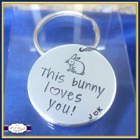 Personalised I Love You Valentine's Gift - This Bunny Loves You! With initials - Valetine's Keyring - Bunny Anniversary Gift - Name