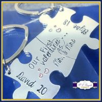 Our First Valentines As Mr and Mrs Keyrings - Our First Valentine's Gift - Puzzle Keyrings- Valentine's Gift - Couple's Keyrings - Our First