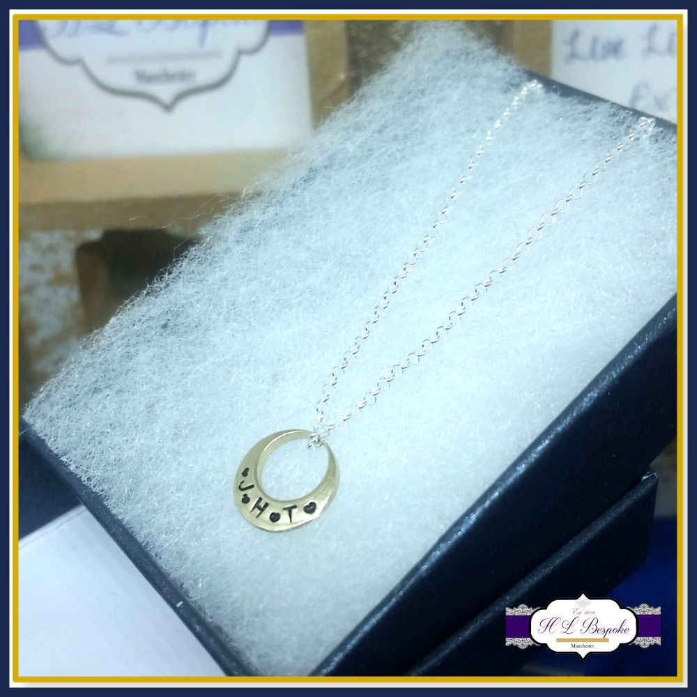 Personalised Small Gold Offset Washer Initial Pendant - Dainty Necklace Wit