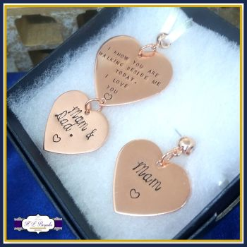 Bridal & Groom Bouquet Memorial Charms - Bride and Groom Wedding Day Charms - Copper - Rose Gold Memorial Charm - Matching Memorial Charms