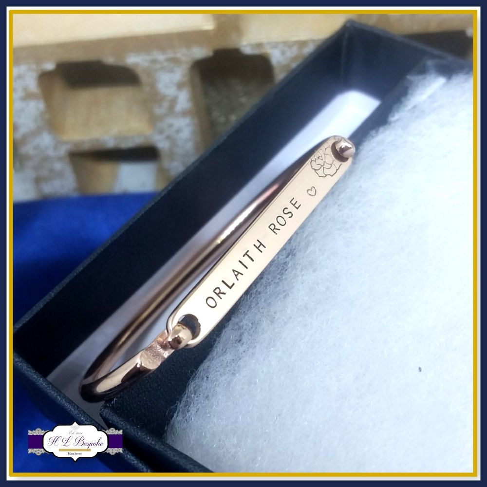 Personalised Rose Gold Children's Bangle - Rose Gold ID - Gold - Silver Ban
