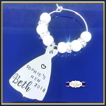 Personalised Hen Party Accessories - Hen Party Wine Glass Charms - Bride Hen Do Gifts - Hen Party Decor - Personalised Hen party - Wedding