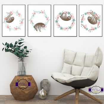 Sloth Print Set - Floral Sloth Bedroom Decor - Fun Sloth Gifts - Sloth Gift - Sloth Baby Nursery - Sloth Watercolour - Printed & Unframed