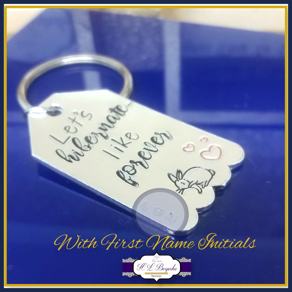 Personalised Valentine's Keyring - Let's Hibernate - Like Forever Keychain