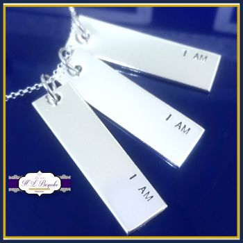 I Am Necklace - I Am I Am I Am Quote Pendant - Sterling Silver Bar Necklace - Sylvia Plath Pendant - Positive Affirmation Jewellery - Enough
