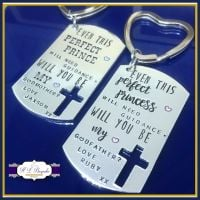 Personalised Will You Be My Godparent Gift - GodParent Keyring - Will You Be My Godfather - Will You Be My Godmother - Perfect Prince / ess