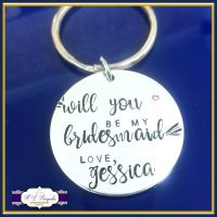 Personalised Will You Be My Bridesmaid Gift - Will You Be My Maid Of Honour - Bridesmaid Keyring - Will You Be Gift - Wedding Party Keyrings
