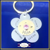 Mother's Day Gift - Flower Mum Belongs To - Birthstone Keyring - Birthstone Gift with Children's Names - Mixed Metal Keychain - Mummy Gift