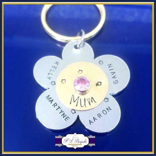 Mother's Day Gift - Flower Mum Belongs To - Birthstone Keyring - Birthstone