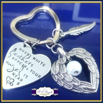 Memorial Keychain - White Feathers Appear - Bereavement Keyring - White  Feathers Angel Gift - In 8fab33f0b975