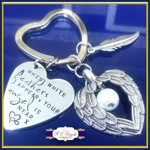 Memorial Keychain White Feathers Appear Bereavement Keyring