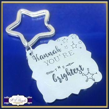 Personalised You're The Brightest Star Keyring - You're A Star Gift - Encouragement Keychain - Uplifting Gift - Appreciation Gift - ThankYou