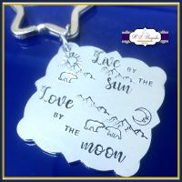 Live By The Sun Love By The Moon Gift - Landscape Keyring - Mountain Range Gift - Mountain Keyring - Night And Day Gift - Bear Gift - Love