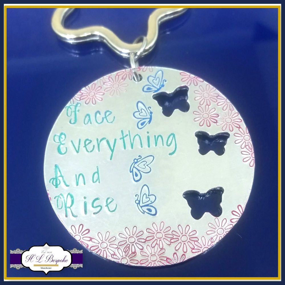 Fear Acroynm Gift - Face Everything And Rise Quote - Fear Keyring - Empower