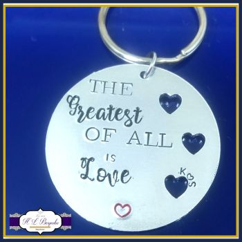 Personalised The Greatest Of All Is Love With Initials - Anniversary Gift - Engagement Gift - Love Keychain - Love Is The Greatest Gift