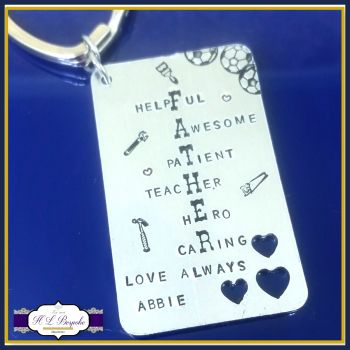 Father's Day Keyring - Father Acrostic Poem Gift - Meaning Of Being A Dad - Daddy Keyring - My Daddy Is... - Hero Dad - Caring - Daddy Gift