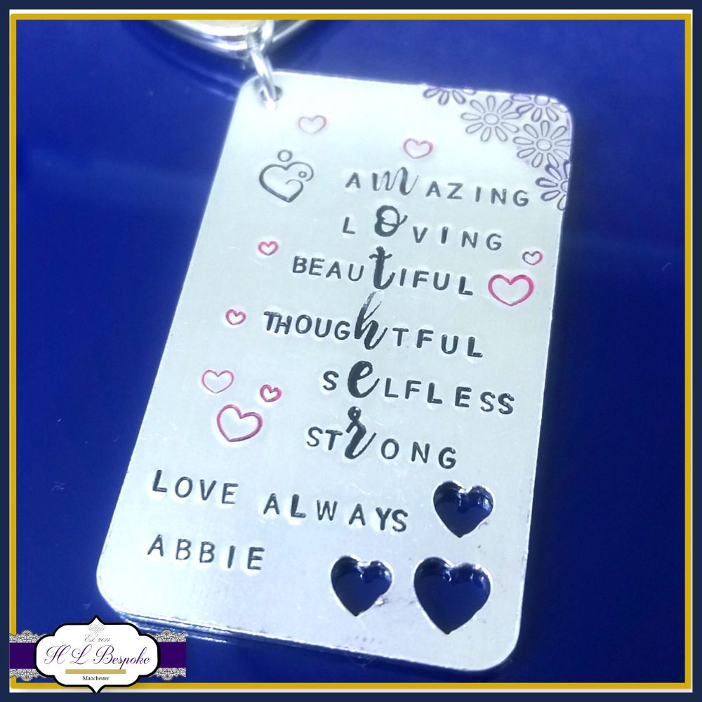 Mother's Day Keyring - Mother Acrostic Poem Gift - Meaning Of Being A Mum -