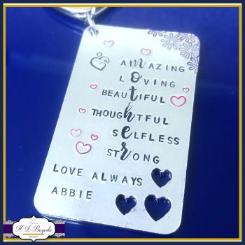 Mother's Day Keyring - Mother Acrostic Poem Gift - Meaning Of Being A Mum - Mummy Keyring - My Mummy Is... - Strong Mum - Selfless Mummy