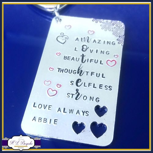 Mother's Day Keyring - Mother Acrostic Poem Gift - Meaning Of Being A Mum -  Mummy Keyring - My Mummy Is    - Strong Mum - Selfless Mummy