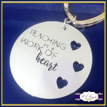 Graduate Teacher Gift - Thank You Teacher Keychain - Teaching Is A Work Of Heart - Teacher Keyring - Thank You Teacher - Gift For Teachers