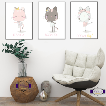 3x Personalised Little Girl Print Set - [NAME] Born To Dream Big - Dancer Prints - Cute Cat Wall Decor - Dancer Bedroom - Printed & Unframed