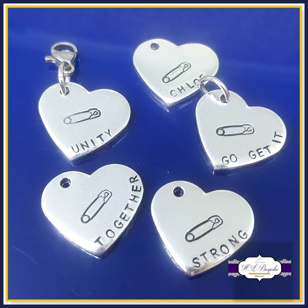 Personalised Safety Pin Charm - Safety Pin Movement - Solidarity Gift - Str