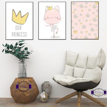 Princess Baby Girl Nursery Decor - Princess Print Set - Our Princess Wall Decor Prints - Baby Princess Room Art - New Baby Wall Decoration