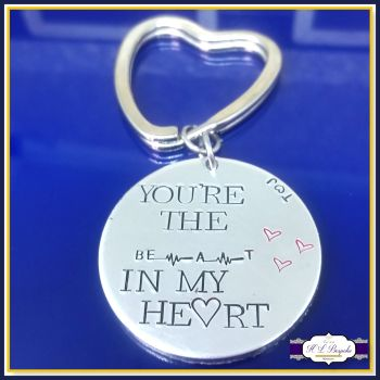 You're The Beat In My Heart - Valentine's Keyring - Valentines Gift - Heartbeat Gift - Lovers Keychain - Couple Gifts - Anniversary Gift