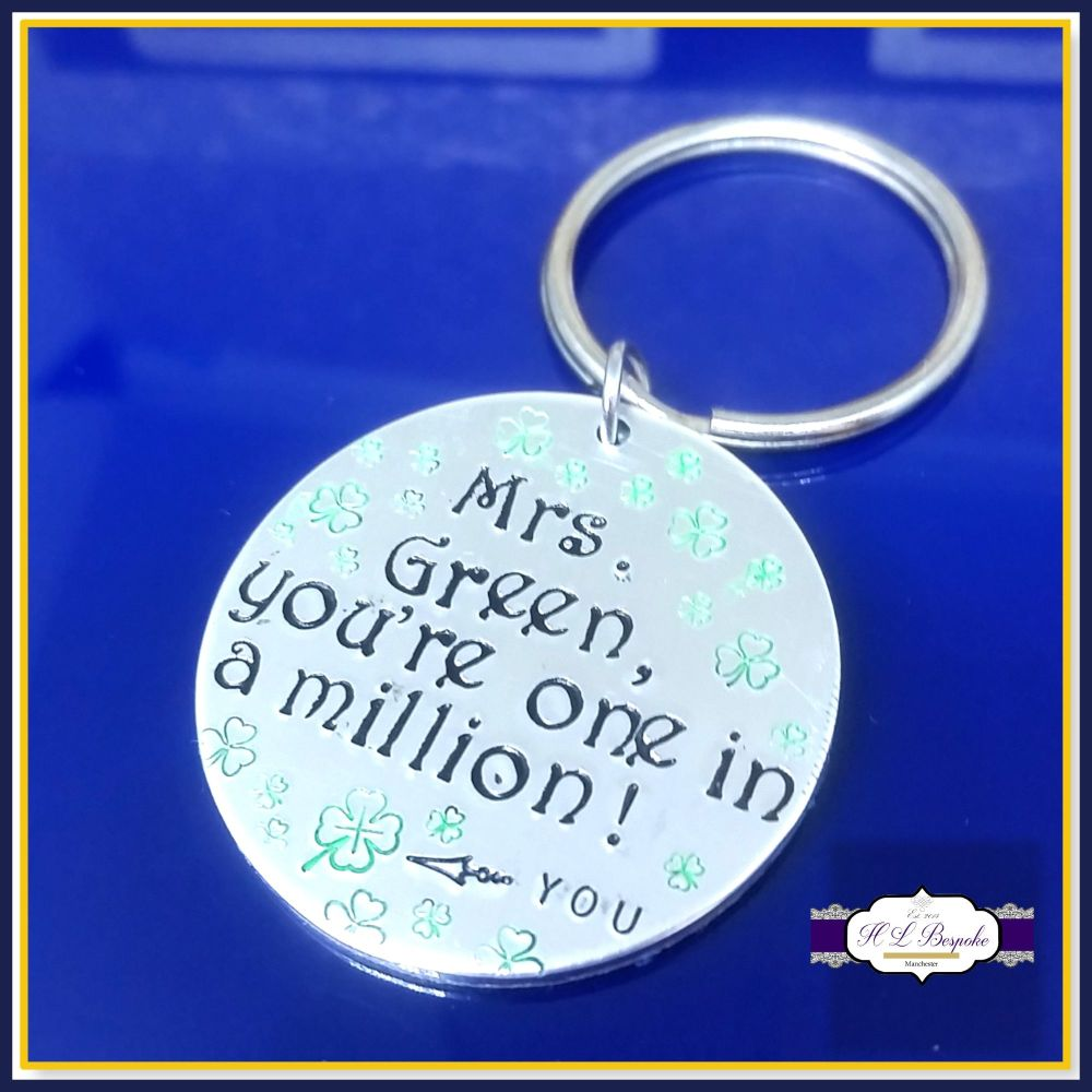 Personalised Teacher Keyring Gift - Teacher You're On In A Million - End Of