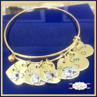Personalised Gold Birthstone Bangle Adjustable - Mothers Day Gift - Birthstone Jewellery - Personalised Birthstone Bracelet - New Mum Gift